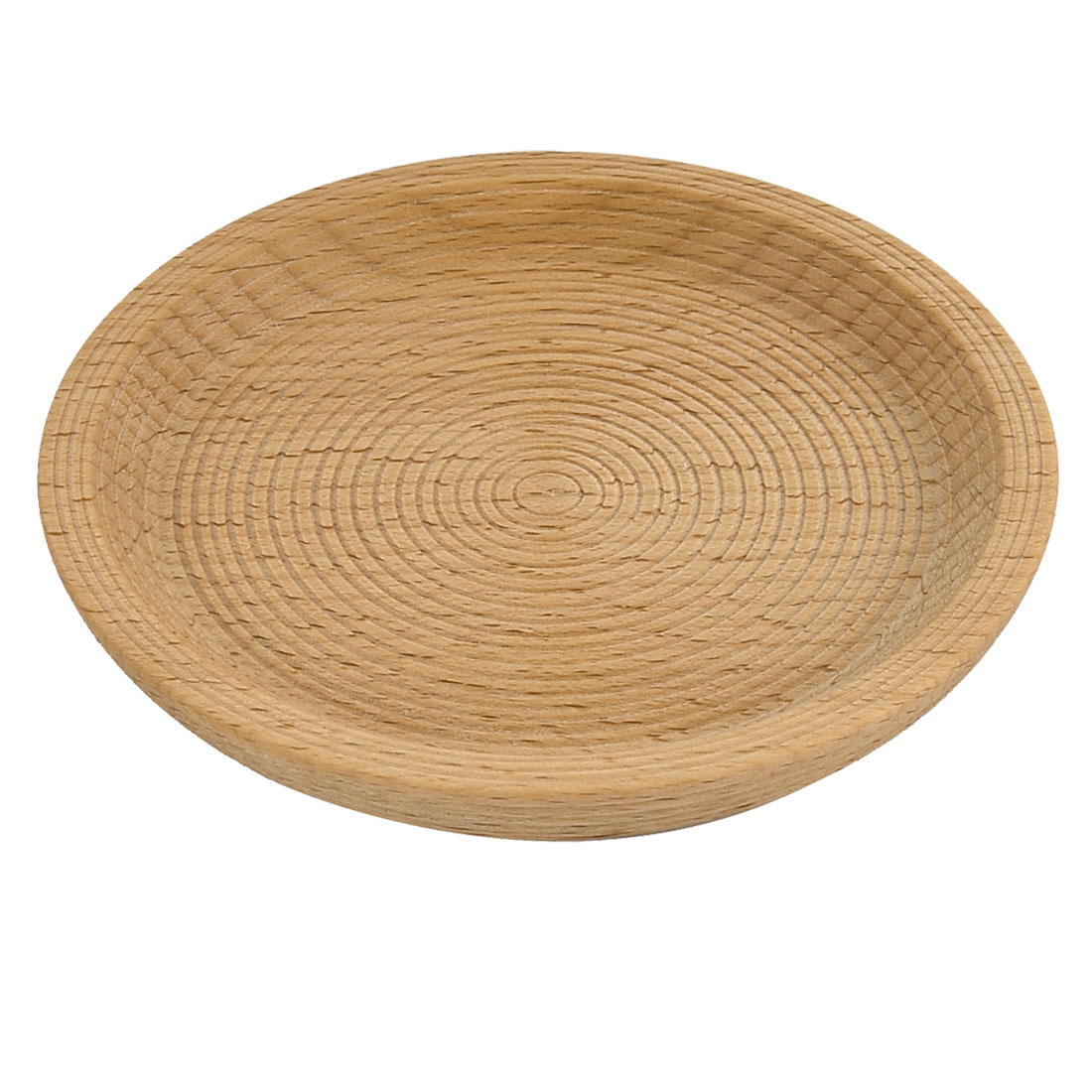 Restaurant Wood Grain Pattern Round Shape Tea Cup Mat Tray Container 12cm Dia