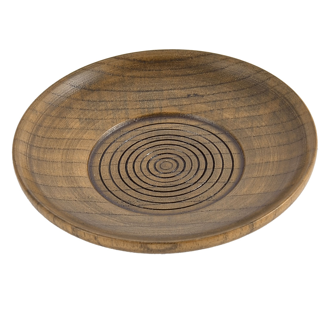 Restaurant Wood Grain Pattern Round Shape Tea Cup Mat Tray Container 10.5cm Dia