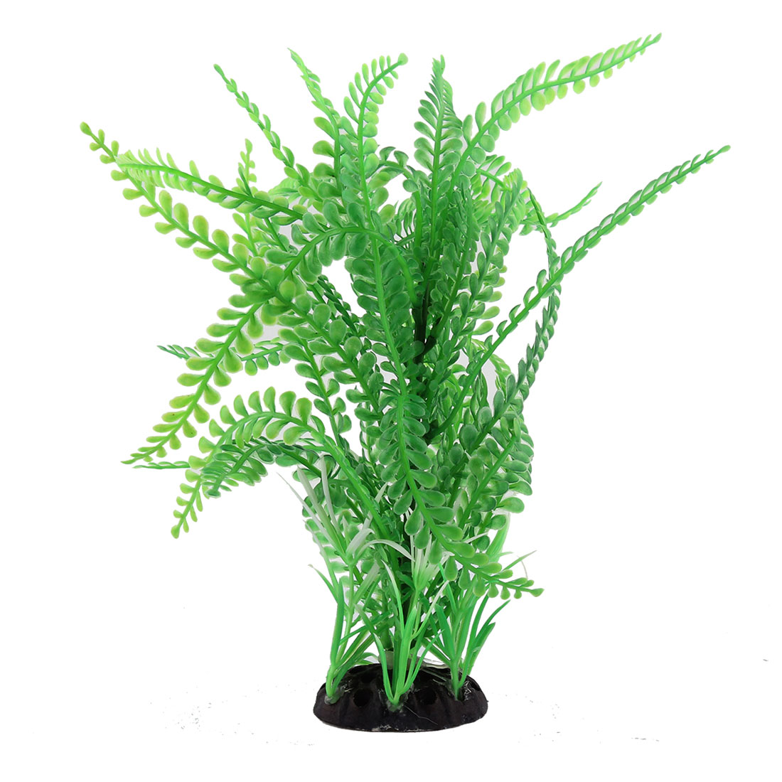 Aquarium Ceramic Base Plastic Artificial Water Grass Plant Decoration Light Green