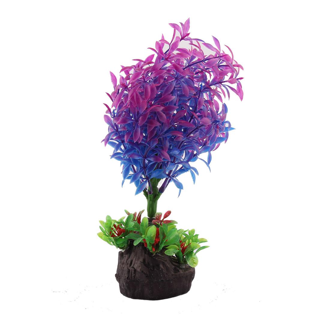 Stone Base Artificial Tree Grass Plant Fish Tank Aquarium Decoration Purple