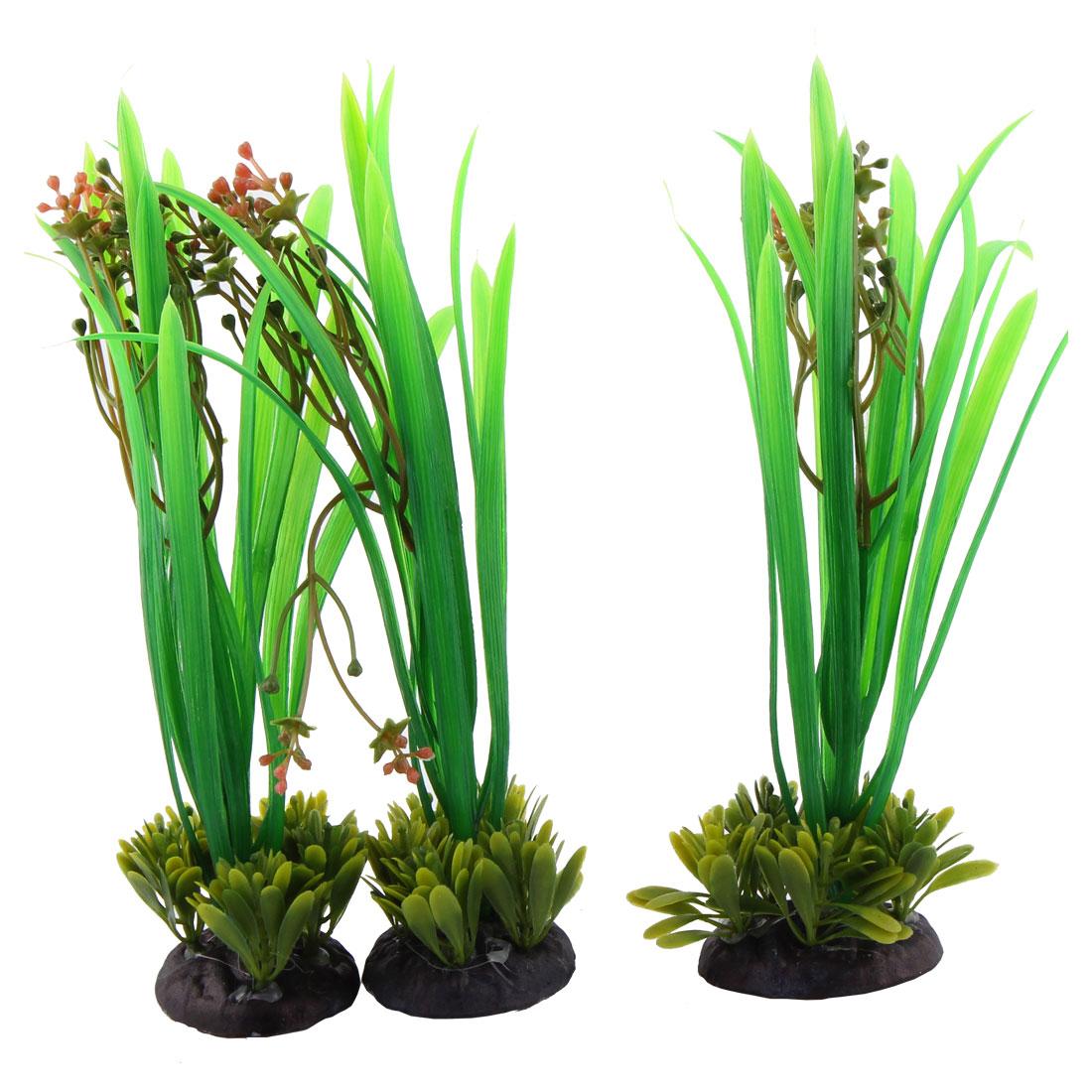 Ceramic Base Artificial Plants Decor 3 Pcs for Fish Tank Aquarium Ornament