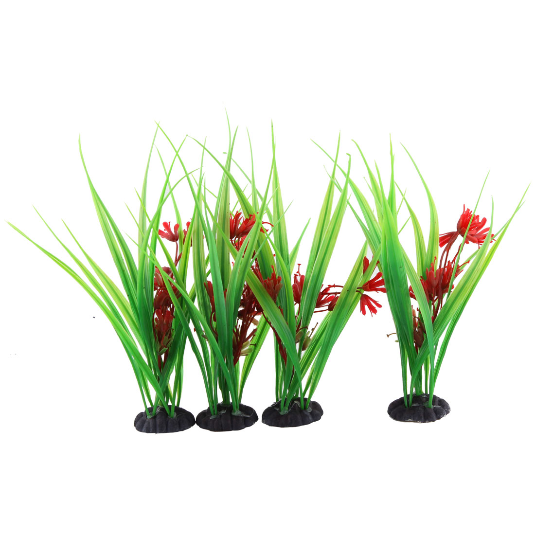 Fish Tank Aquarium Decoration Ceramic Base Artificial Water Plants Grass 4Pcs
