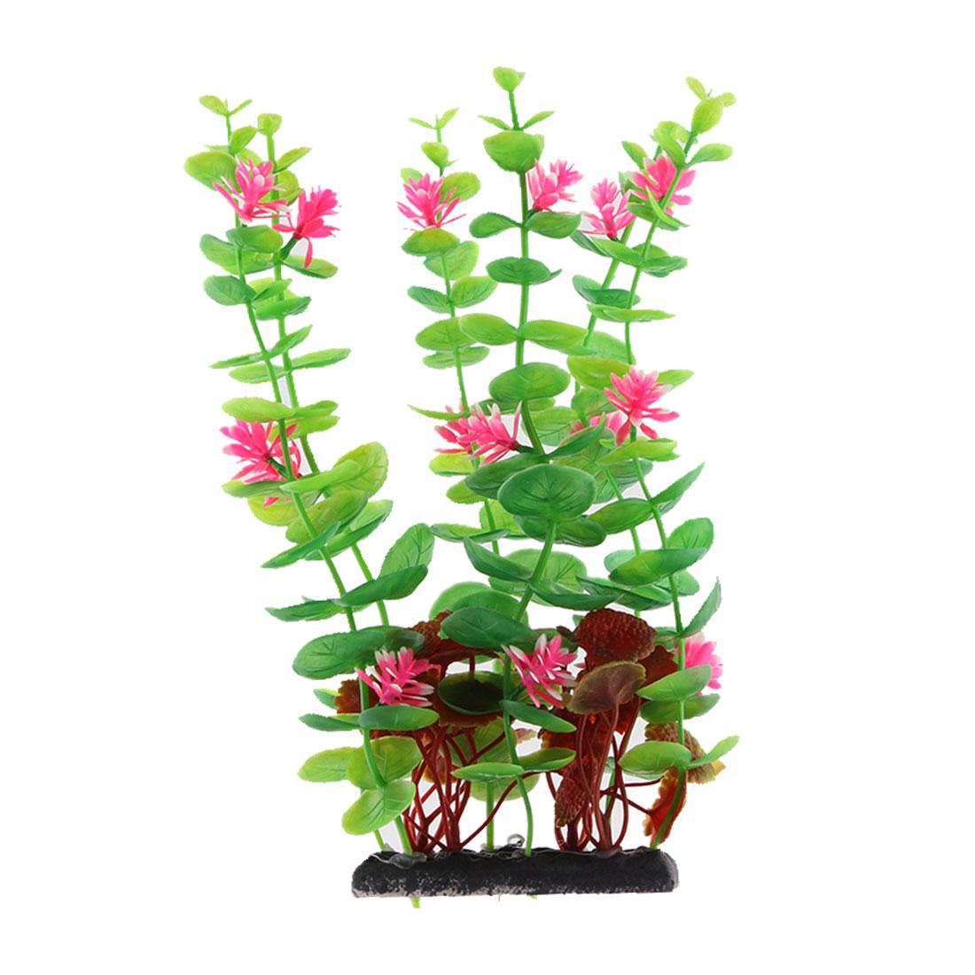 Aquarium Ceramic Base Plastic Artificial Flower Grass Plant Decoration Tricolor