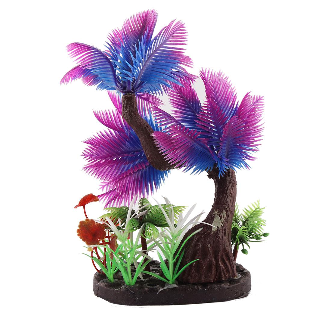 Aquarium Stone Base Plastic Artificial Underwater Coconut Tree Plant Ornament