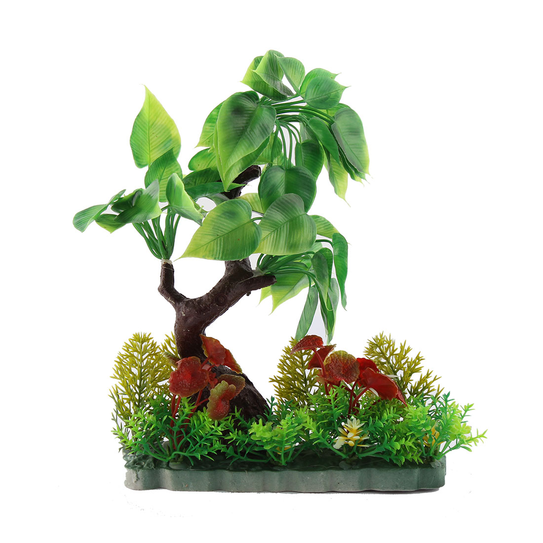 Aquarium Stone Base Plastic Artificial Underwater Tree Plant Decor 28cm Height