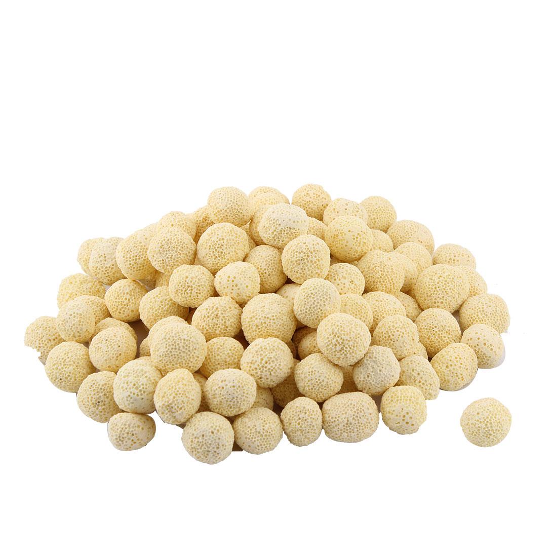 Aquarium Fish Tank Ceramic Round Biological Filter Balls Canister Yellow 124pcs