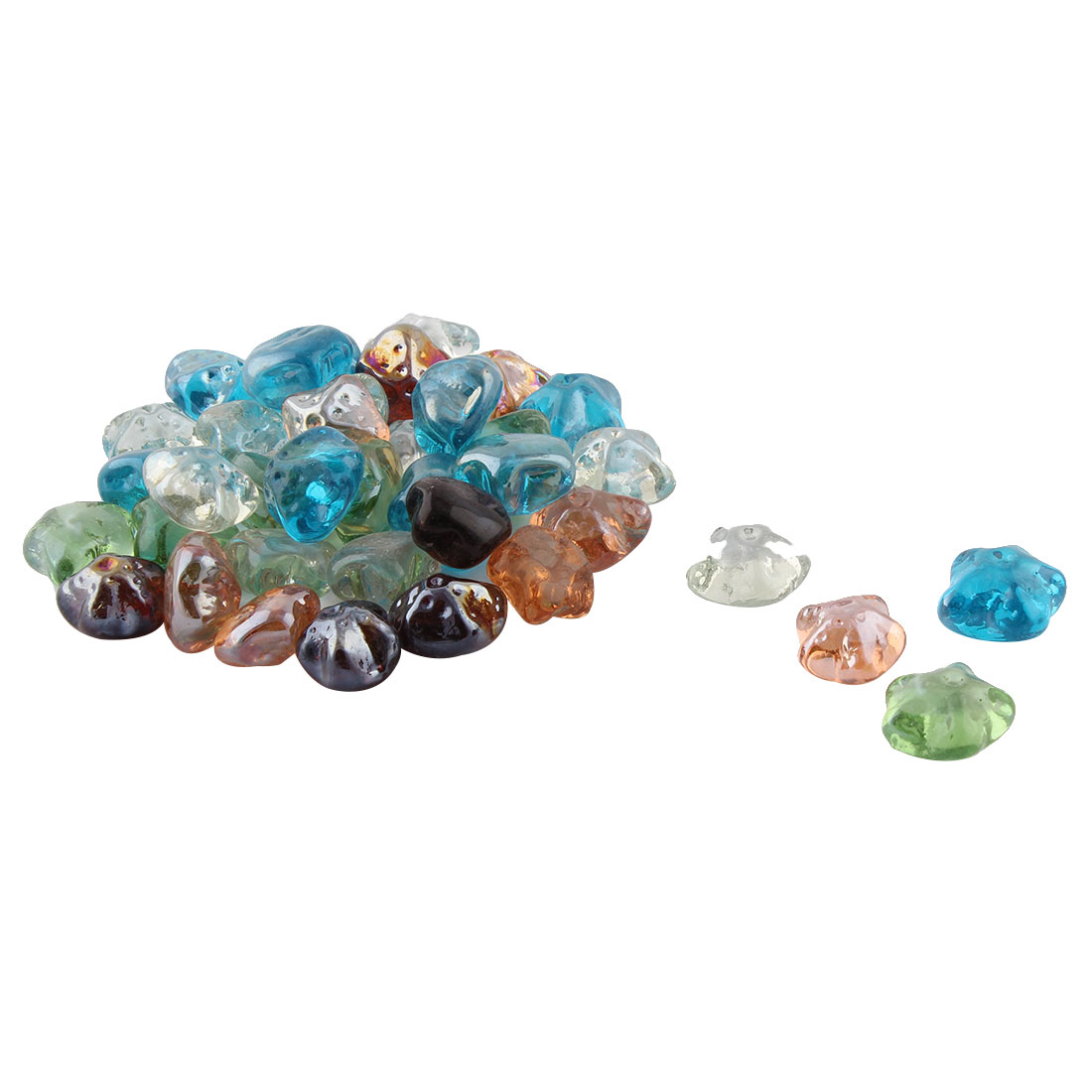 Fish Tank Aquarium Glass Star Shaped Decorative Stone Ornament Colorful 39pcs