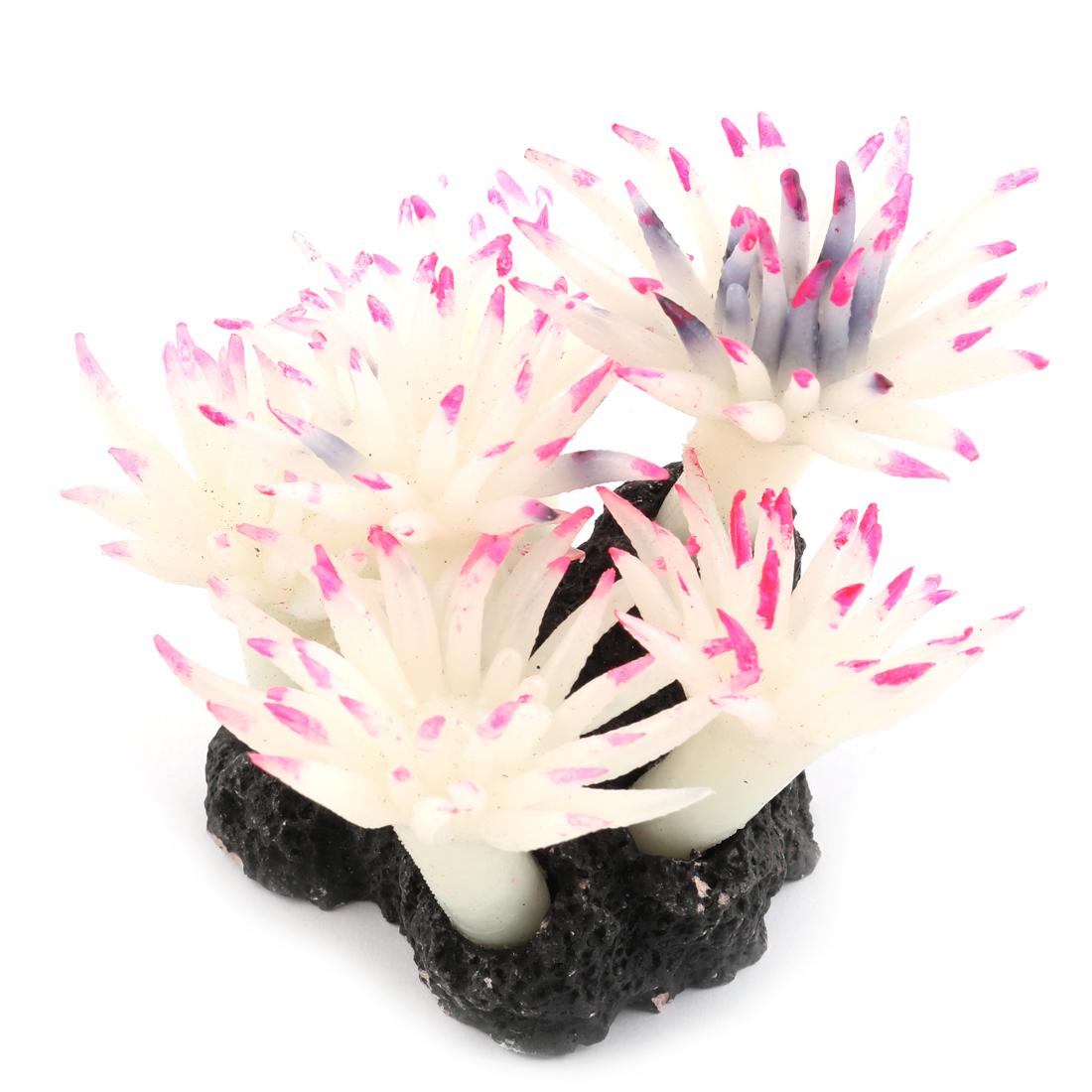 Aquarium Silicone Artificial Under Water Coral Decor White Purple