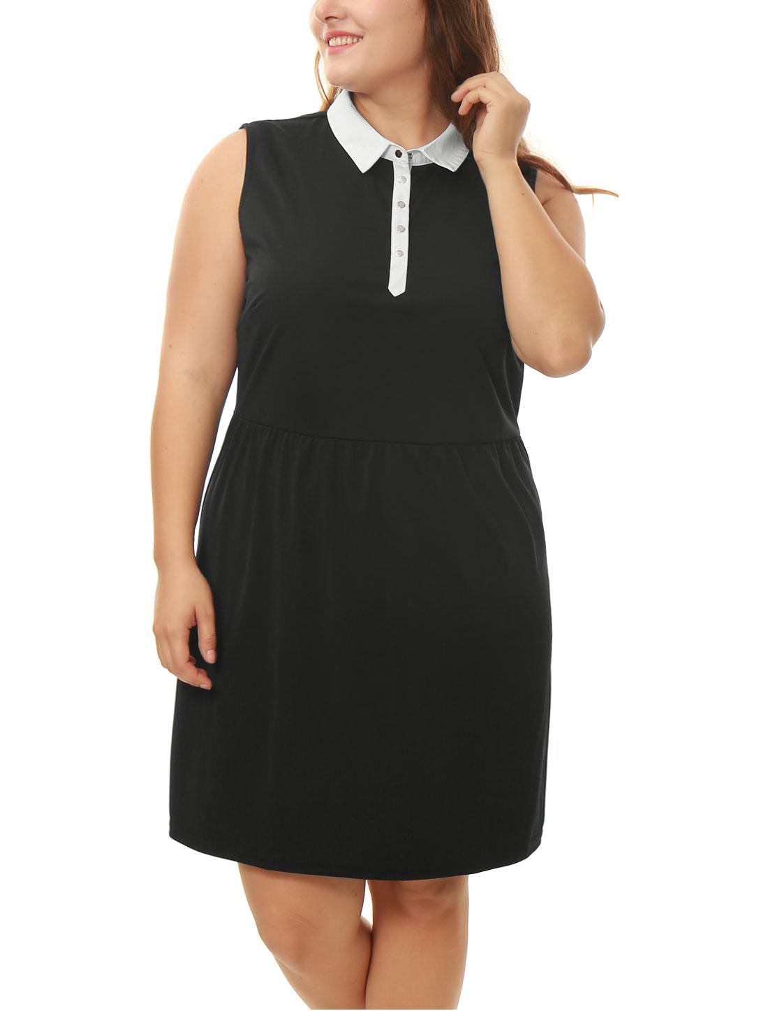 Women Plus Size Sleeveless Contrast-Collared A Line Dress Black 2X