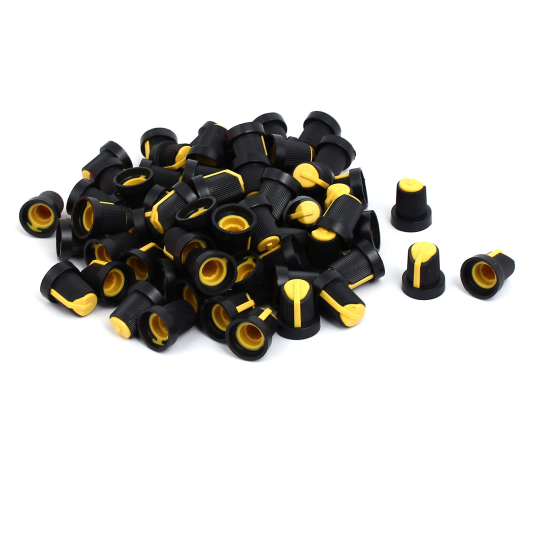 6mm Shaft Hole Diameter Potentiometer Volume Control Rotary Knobs Black Yellow 100 Pcs