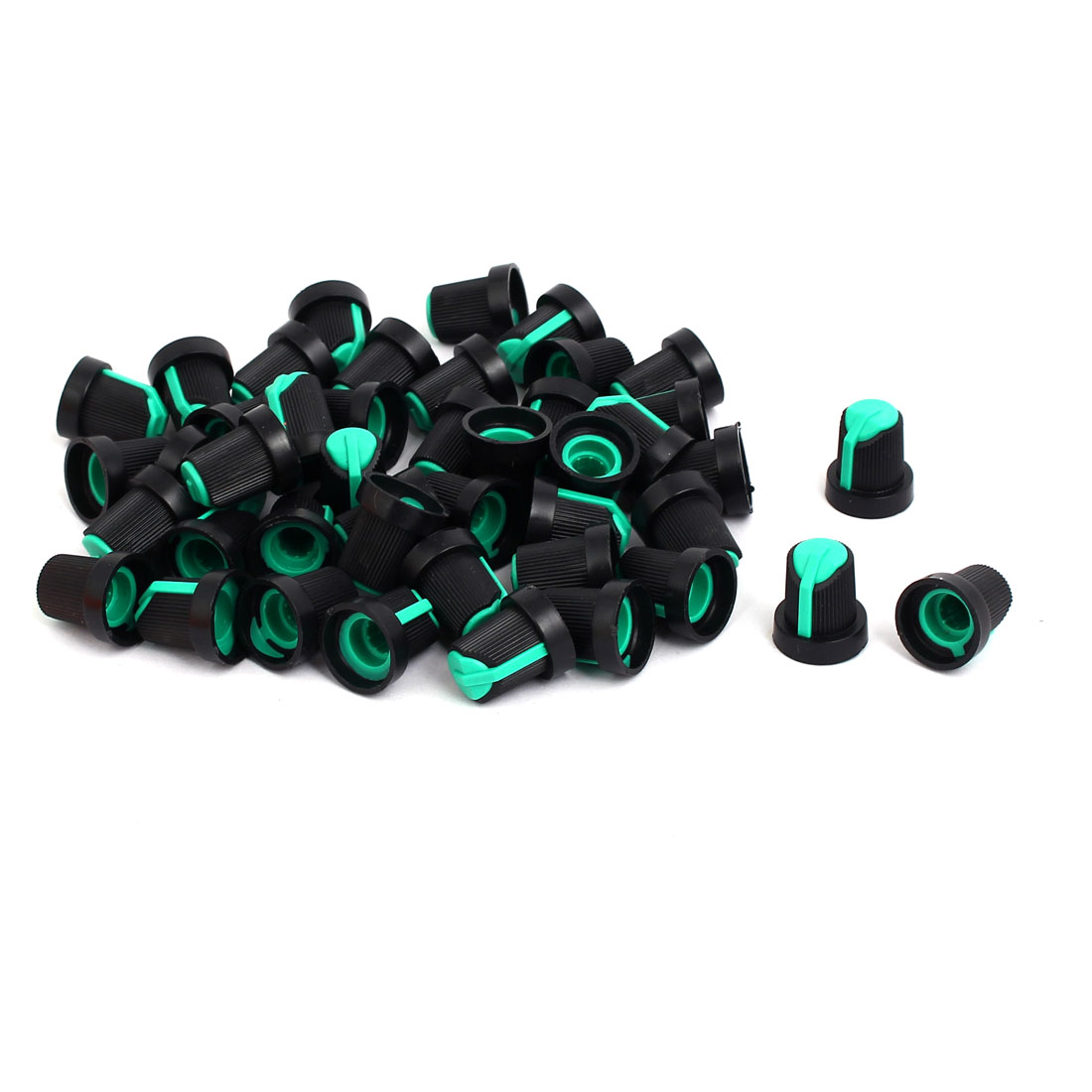 6mm Shaft Hole Dia Potentiometer Pot Knobs Caps Green Black 50 Pcs