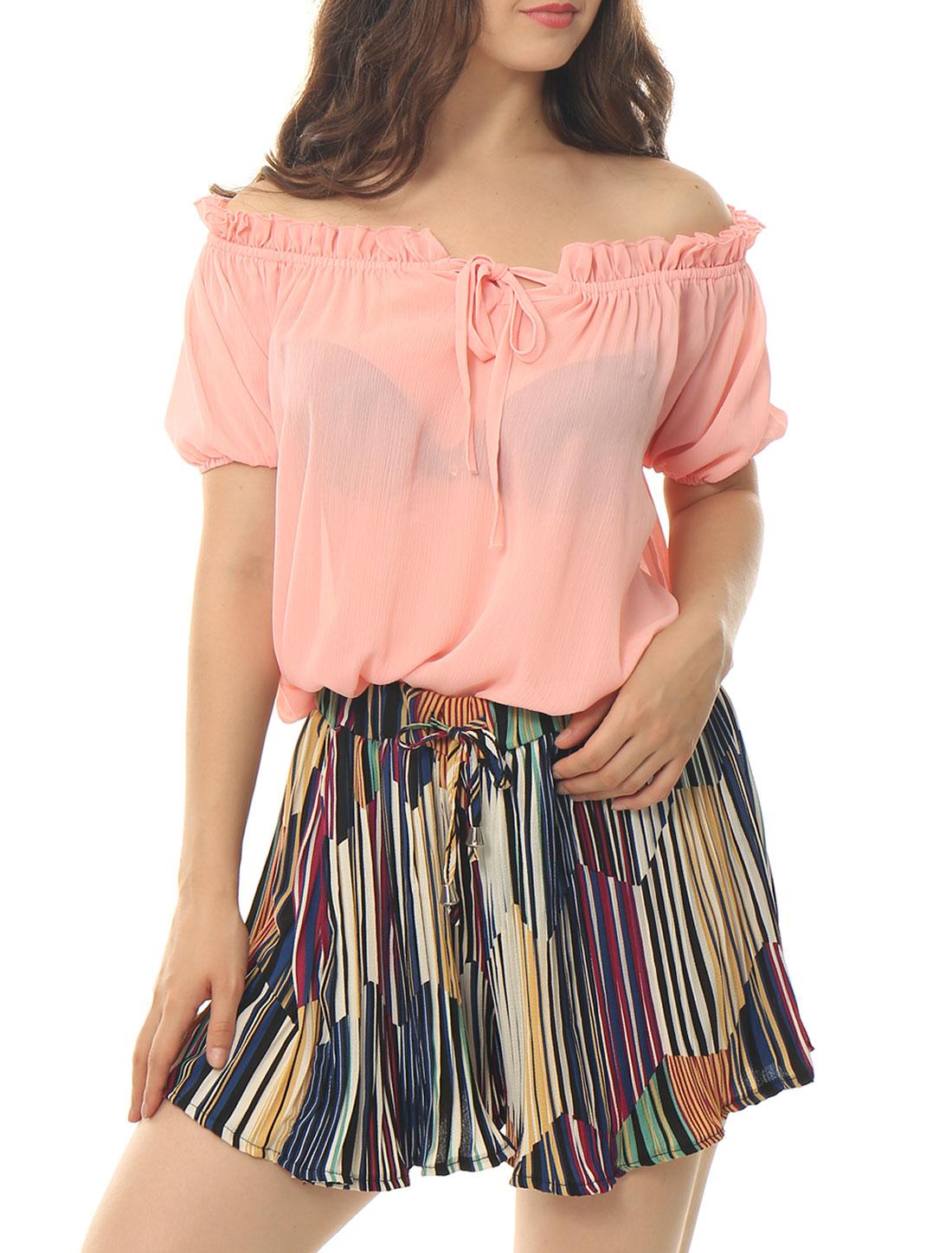 Women Off Shoulder Ruffle Self Tie Neck Semi Sheer Boho Blouse Pink S