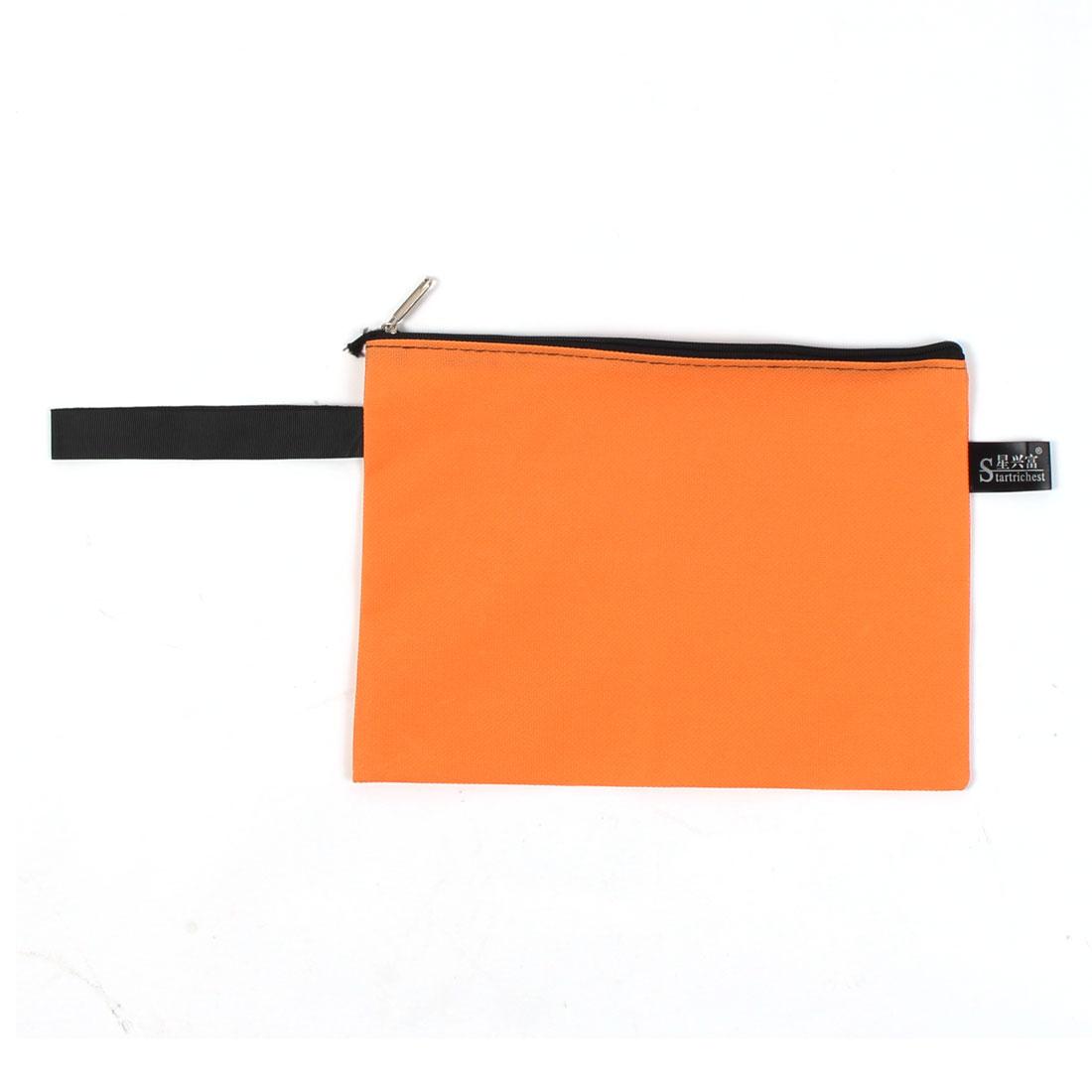 Nylon A5 Paper Pens Eraser CD Files Document Zipper Closure Bags Orange