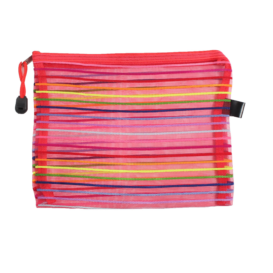 Office Multicolored Stripes Zipper Closure A5 Paper Stationery File Bag Pocket
