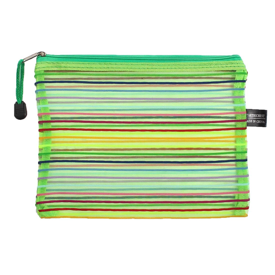Nylon Multicolor Stripes Zipper Closure A5 Paper Documents Pen File Bag Folder