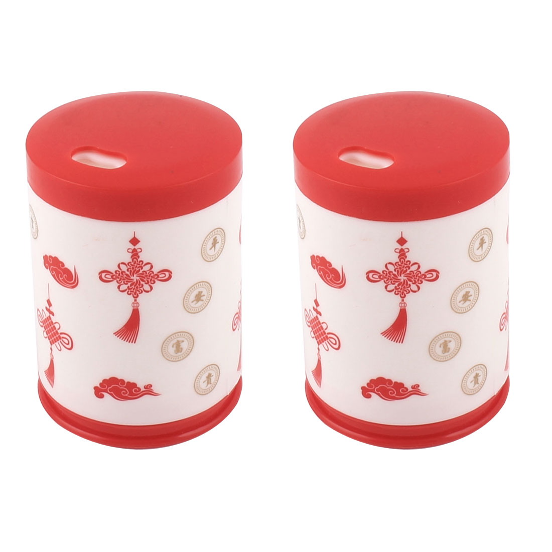 Home Restaurant Plastic Can Shaped Chinese knot Pattern Toothpick Holder Dispenser