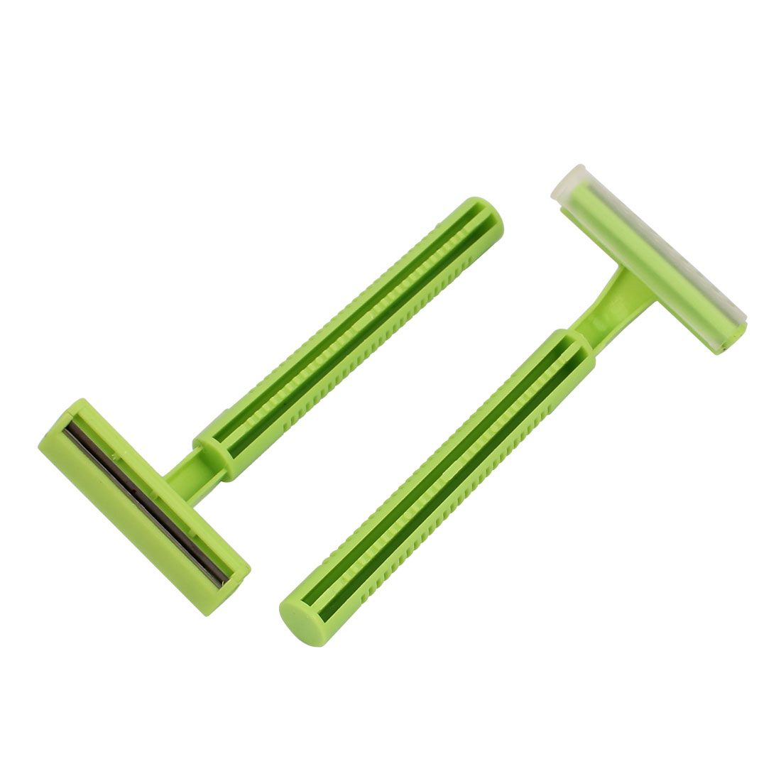 Lady Plastic Shell T Shaped Body Hair Razor Shaver Trimmer Remover Green 2 Pcs