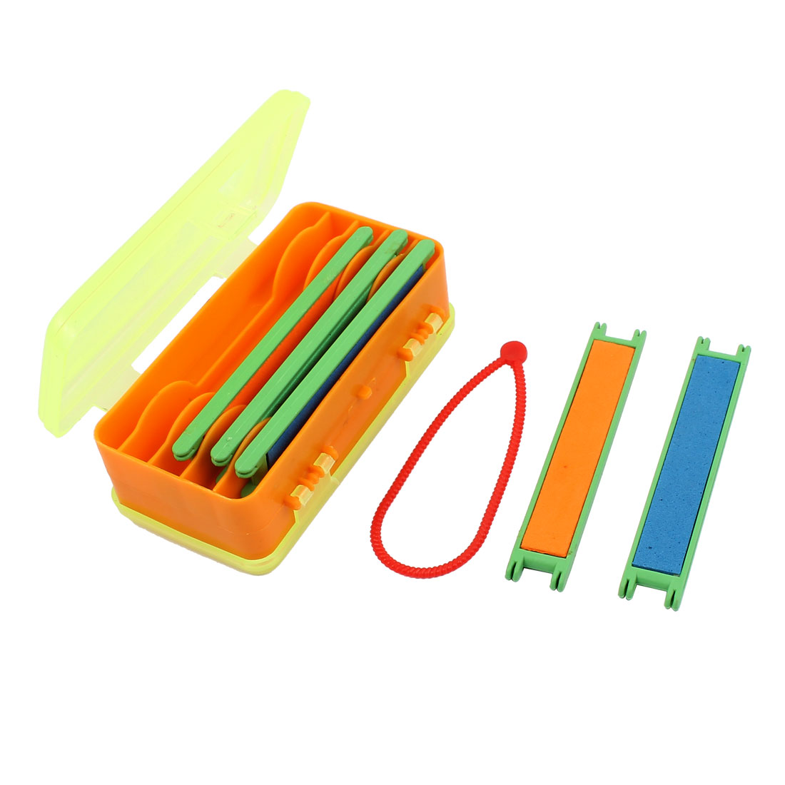 Fishing Plastic Rectangle 9 Compartment Double Layers Case Clear Yellow Orange