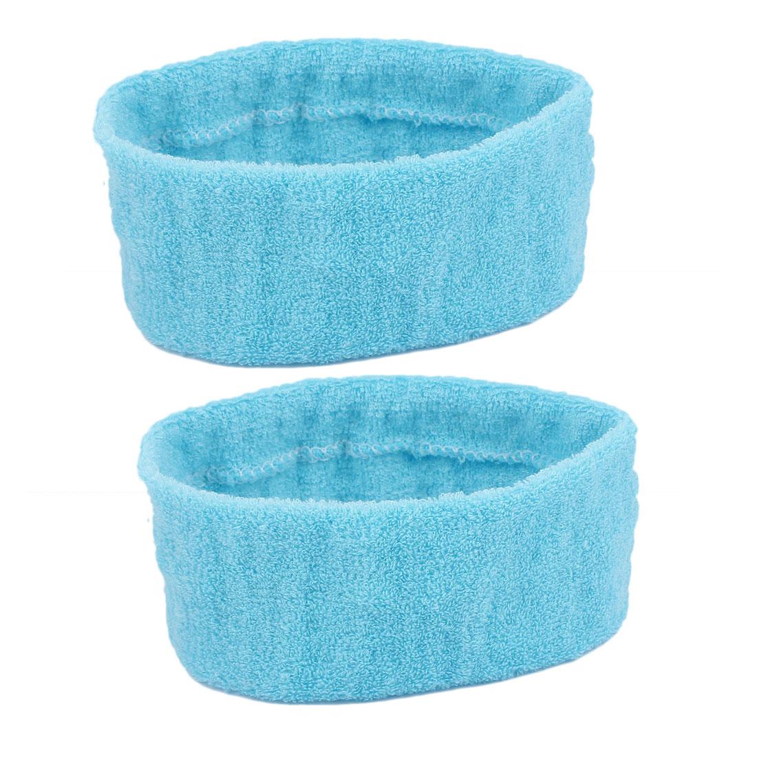 Outdoor Sports Tennis Yoga Washable Elastic Sweatbands Head Hair Bands Sky Blue 2 Pcs