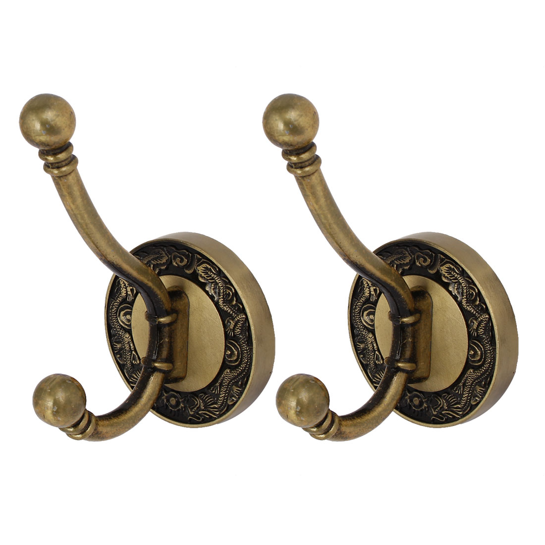 Clothes Towel Metal Round Base Double Hook Wall Mounted Hanger Bronze Tone 2pcs