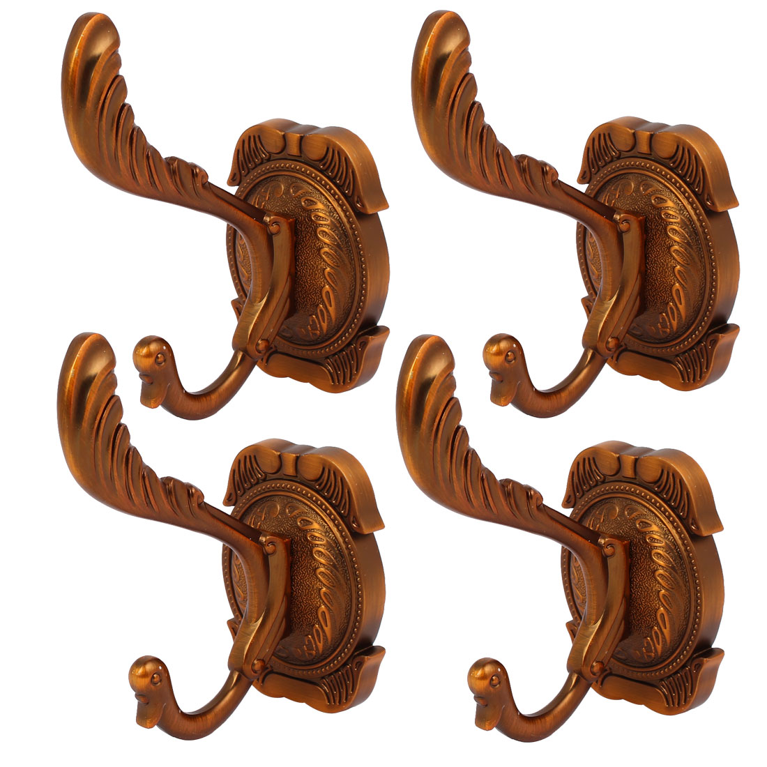 75mm x 53mm Square Base Coat Scarf Bag Hanger Holder Wall Hook Brown 4pcs