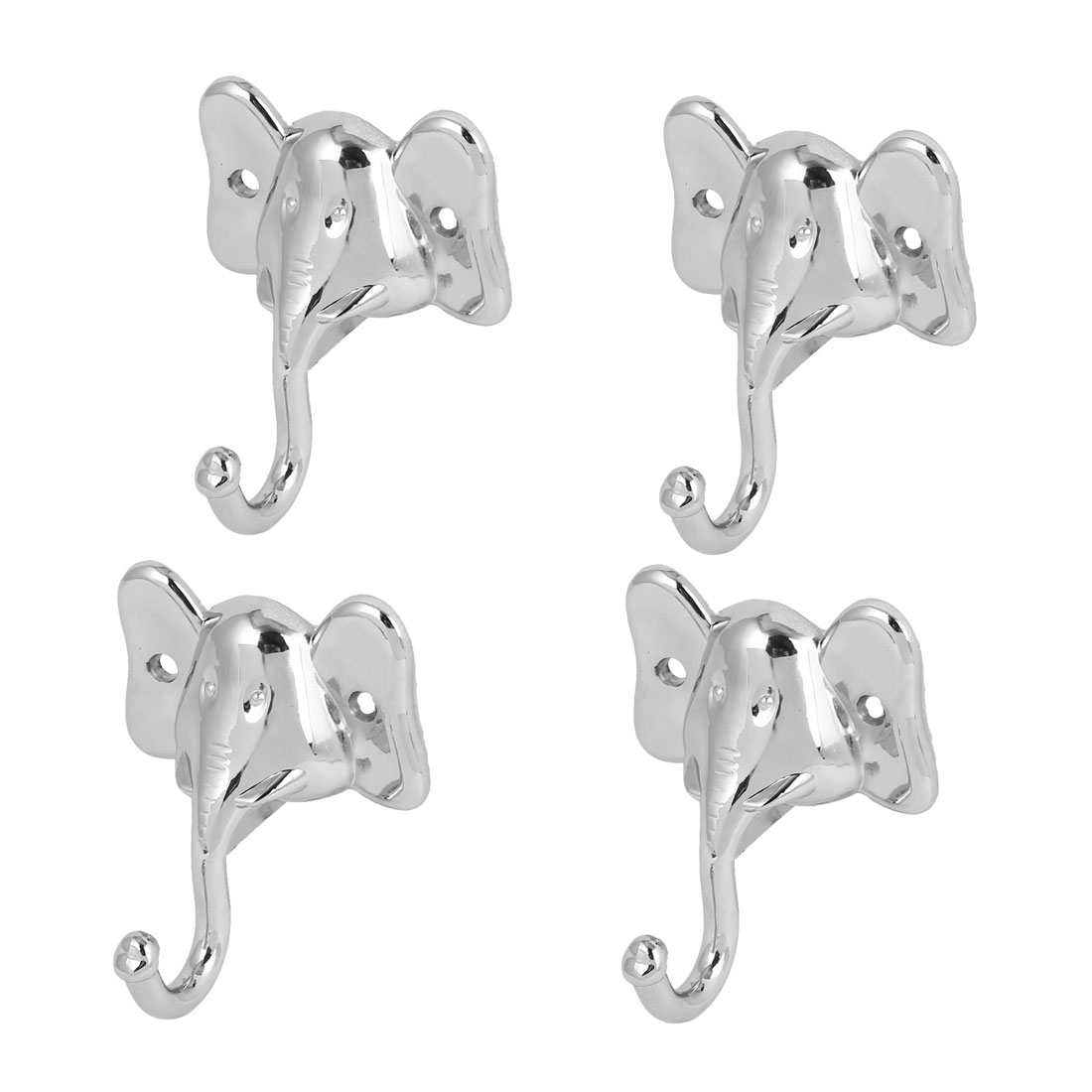 Wall Mounted Elephant Head Shape Single Hook Hat Clothes Hanger 4pcs
