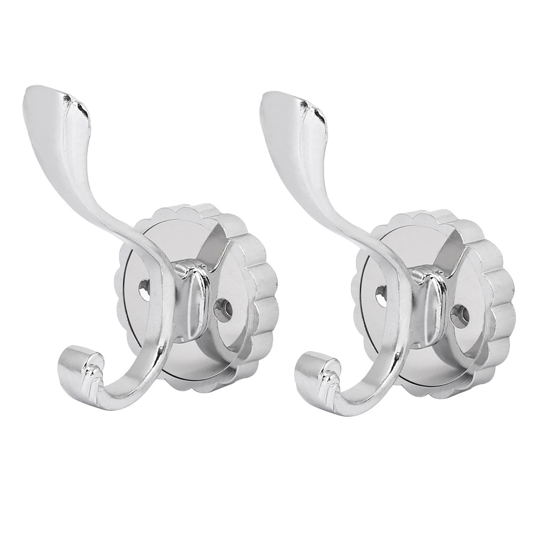 Home Bathroom Door Wall Mount Double Hook Robe Coat Hanger 2PCS