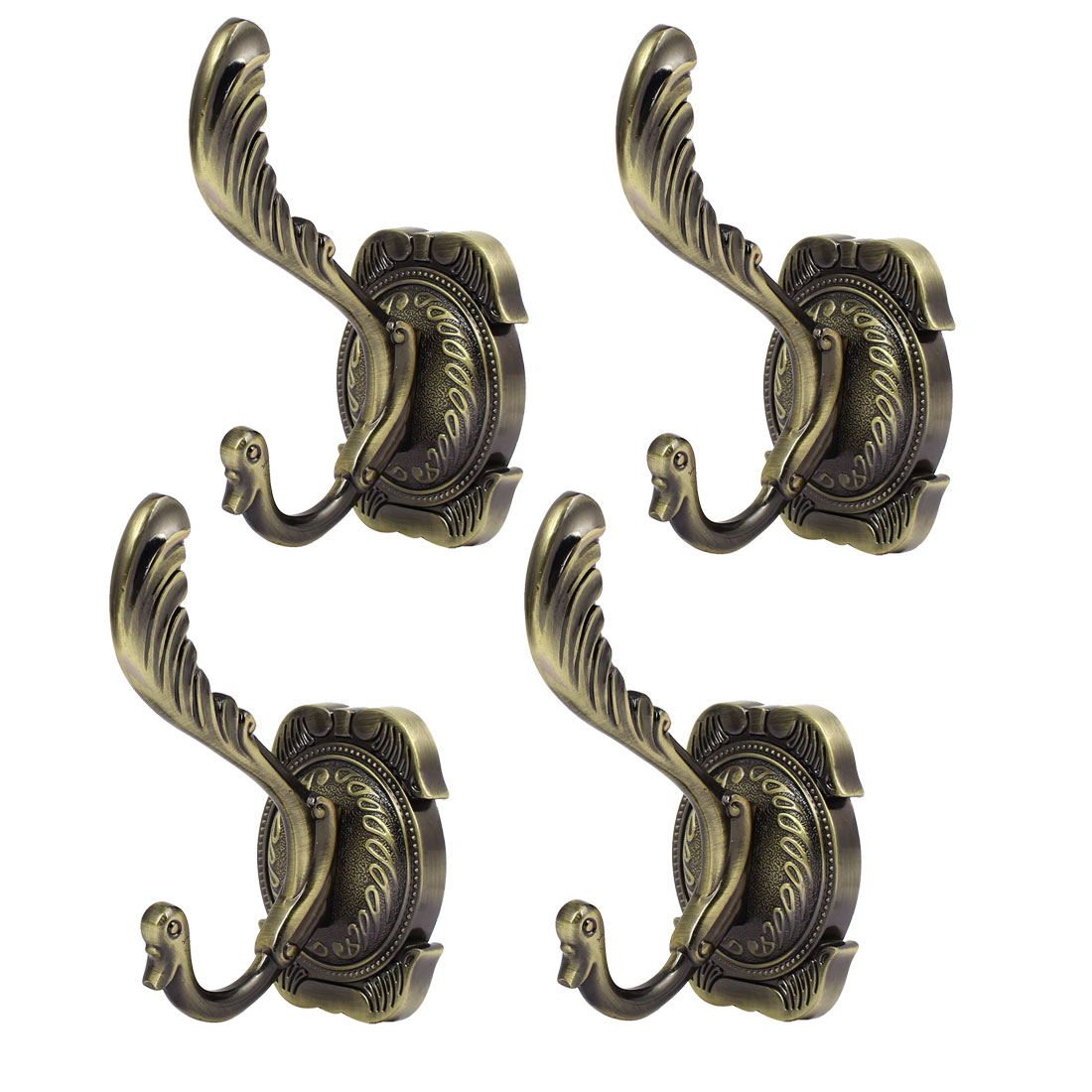 Wall Mounted Square Base Double Hooks Coat Towel Hanging Hanger Bronze Tone 4pcs