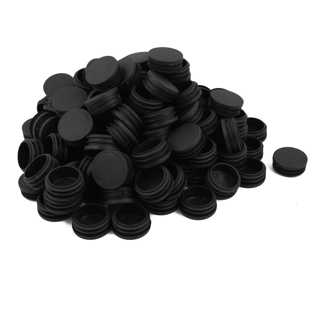 Plastic Furniture Table Chair Round Tube Insert Cover Black 41mm Dia 200 PCS