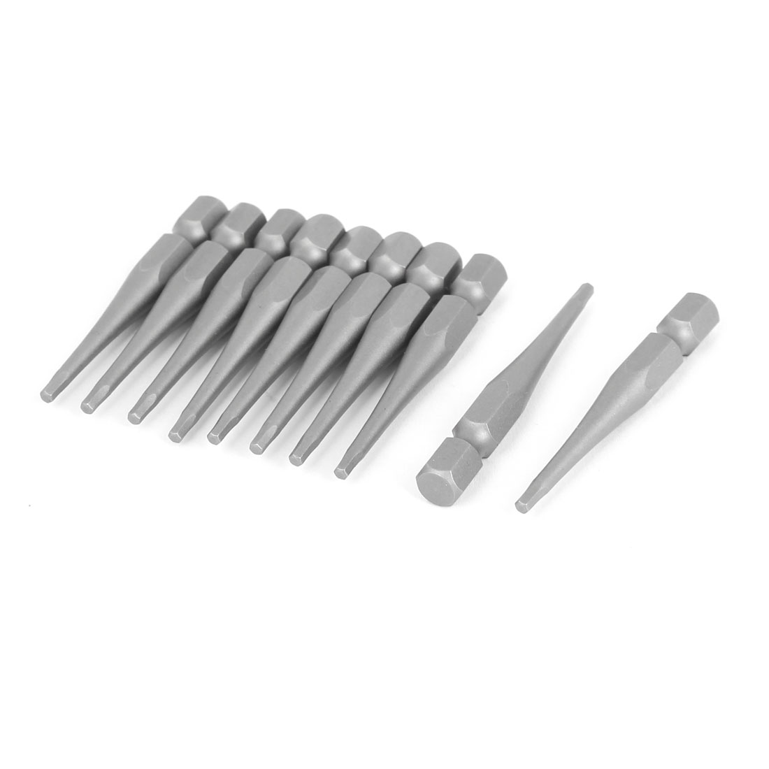10 Pcs 50mm Length 2mm Tip Hex Shank Magnetic Hexagon Screwdriver Bit Gray