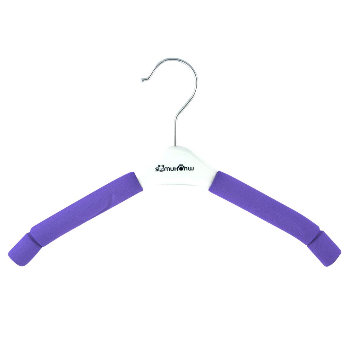 Home Bathroom Sponge Coated Nonslip Suits Pants Clothes Clothing Hanger Hook Purple