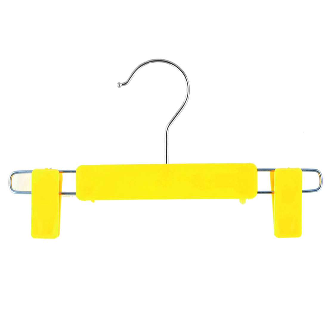 Home Wardrobe Plastic Double Clips Suits Pants Clothes Clothing Hanger Hook Yellow