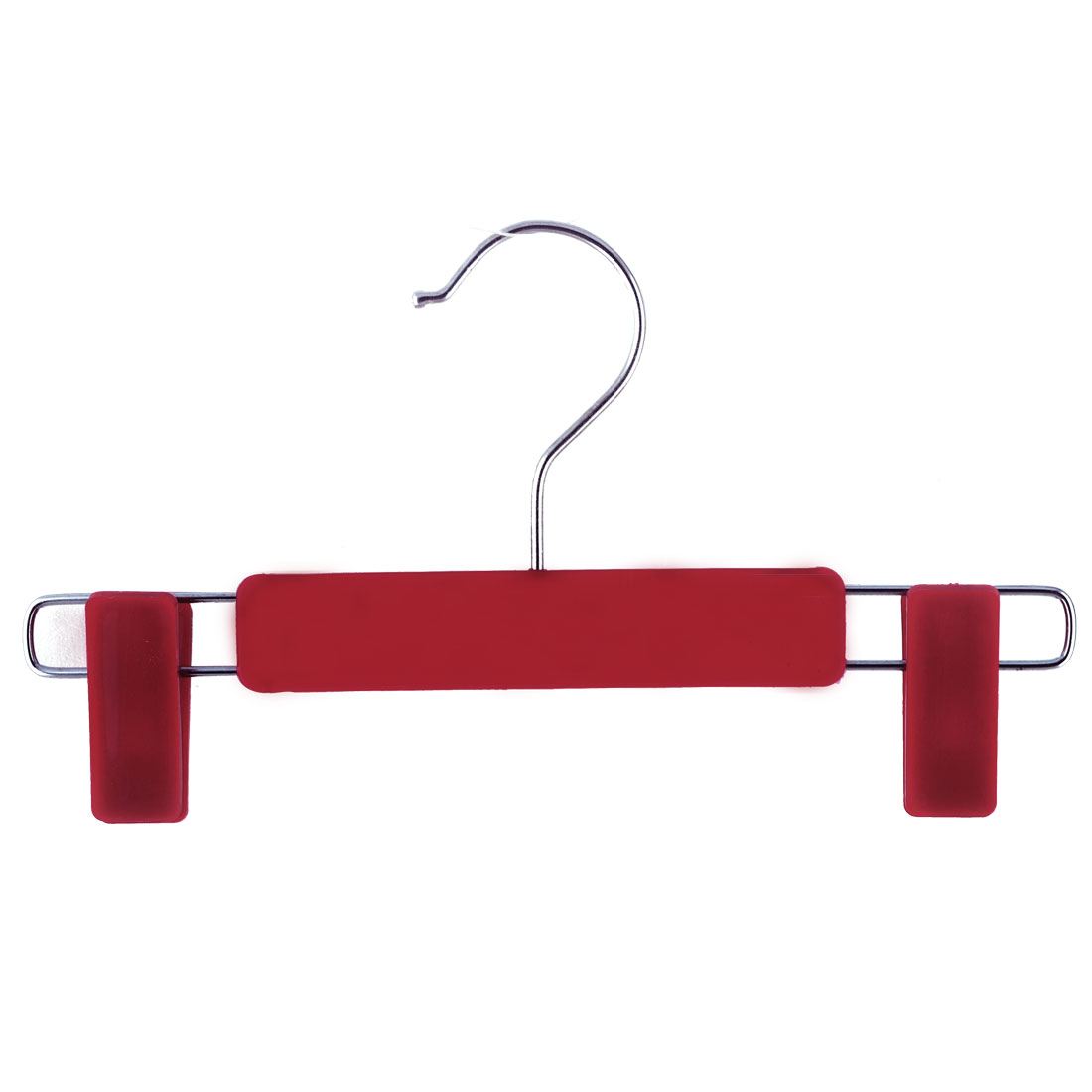 Home Wardrobe Plastic Double Clips Suits Pants Clothes Clothing Hanger Hook Red