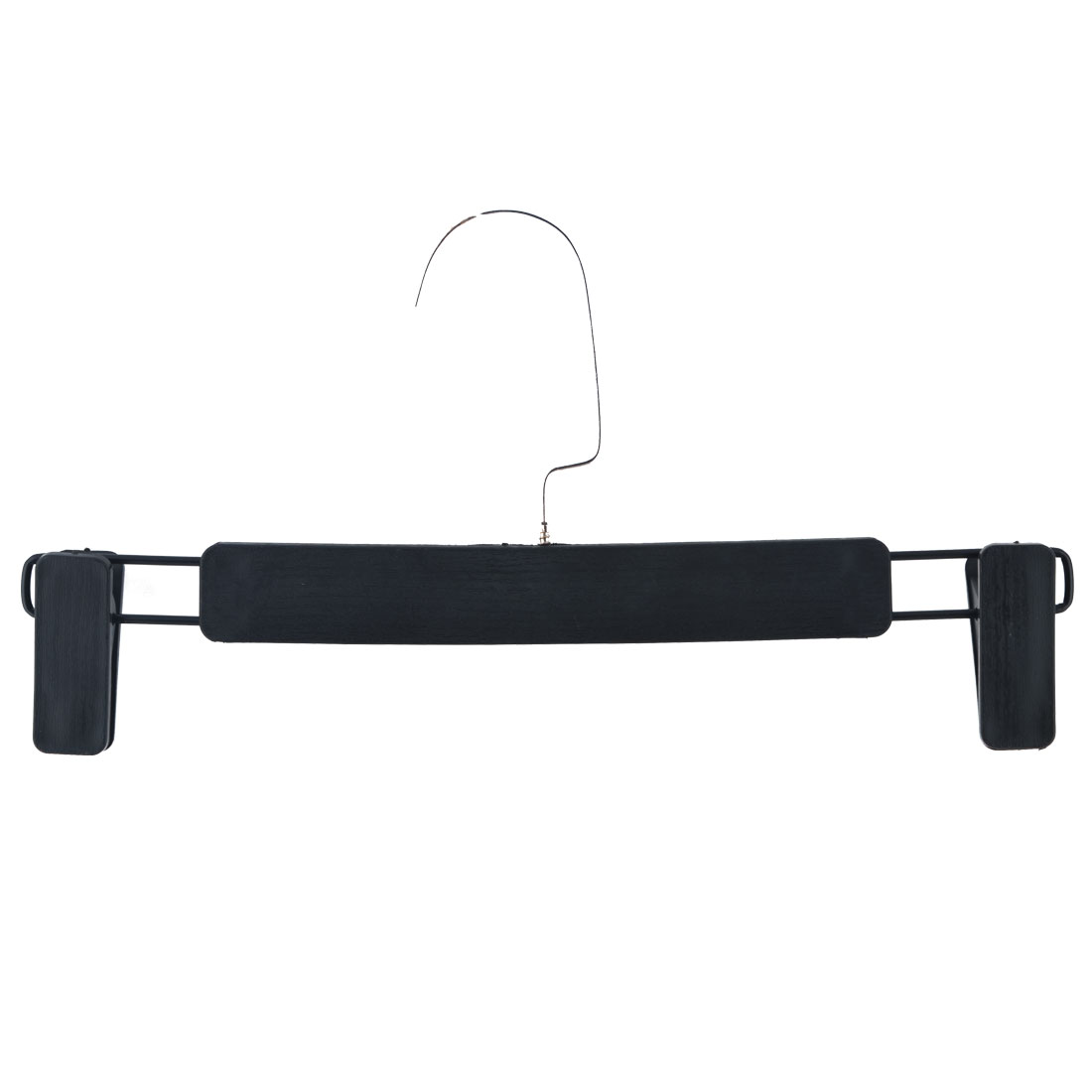 Household Wardrobe Plastic Double Clips Wood-like Suits Pants Clothes Hanger Black