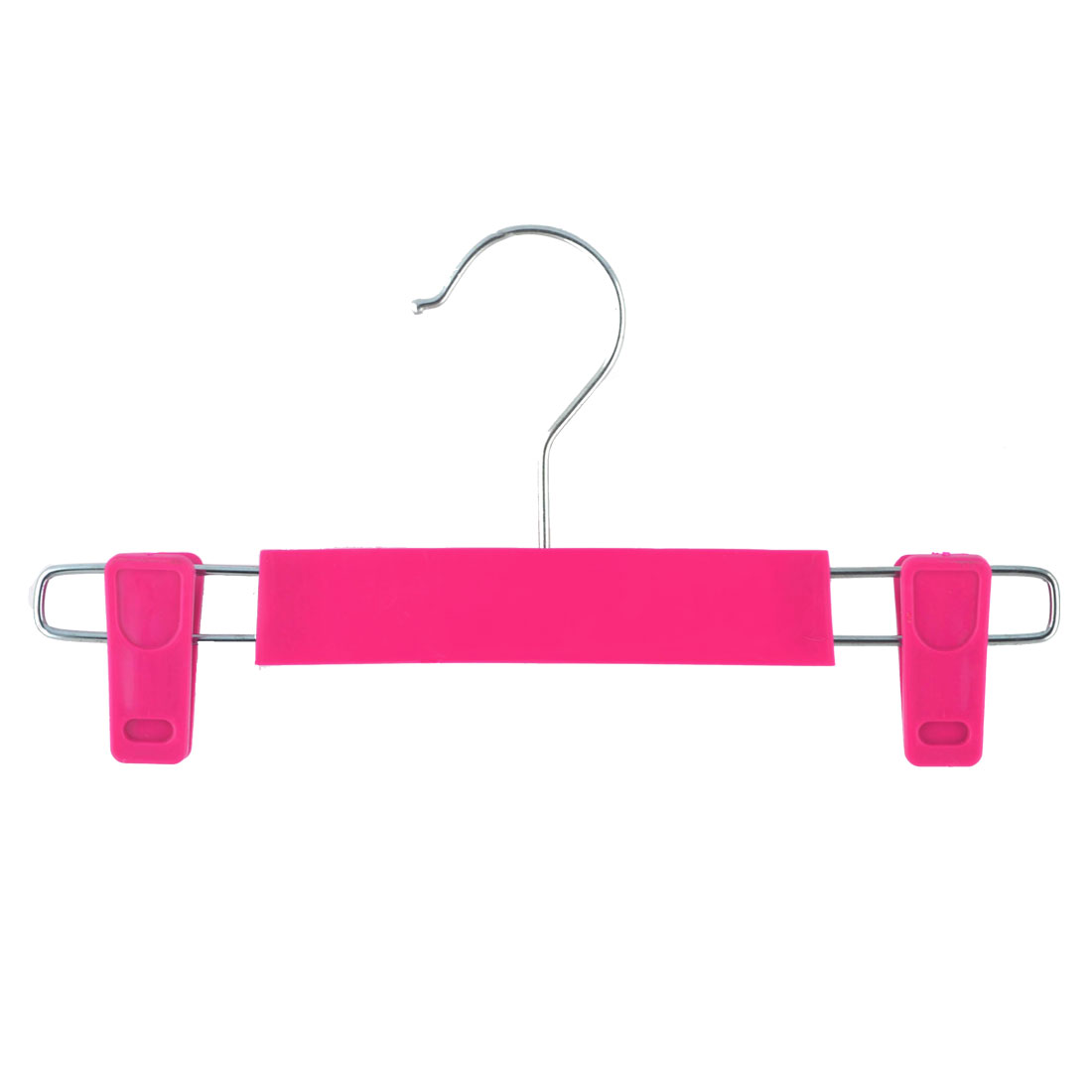 Home Wardrobe Plastic Double Clips Suits Pants Clothes Clothing Hanger Hook Fuchsia