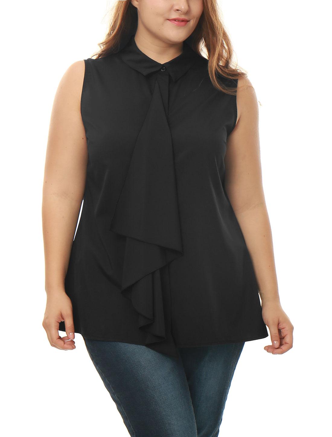 Women Plus Size Hidden Placket Ruffle Front Sleeveless Shirt Black 1X