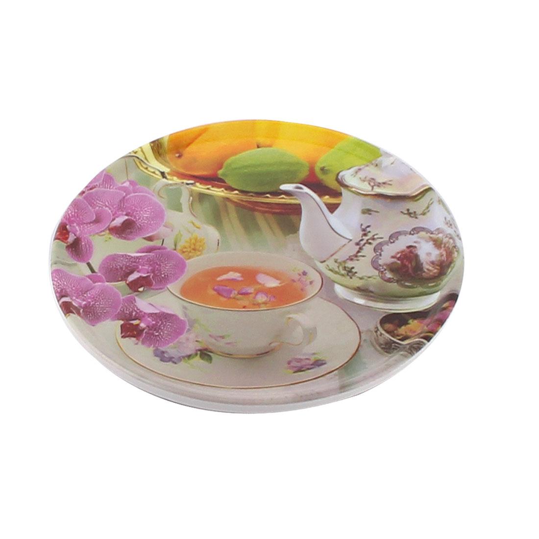 Tableware Melamine Flower Tea Pattern Heat Insulation Placemat Dish Plate Mat 16.5 Dia