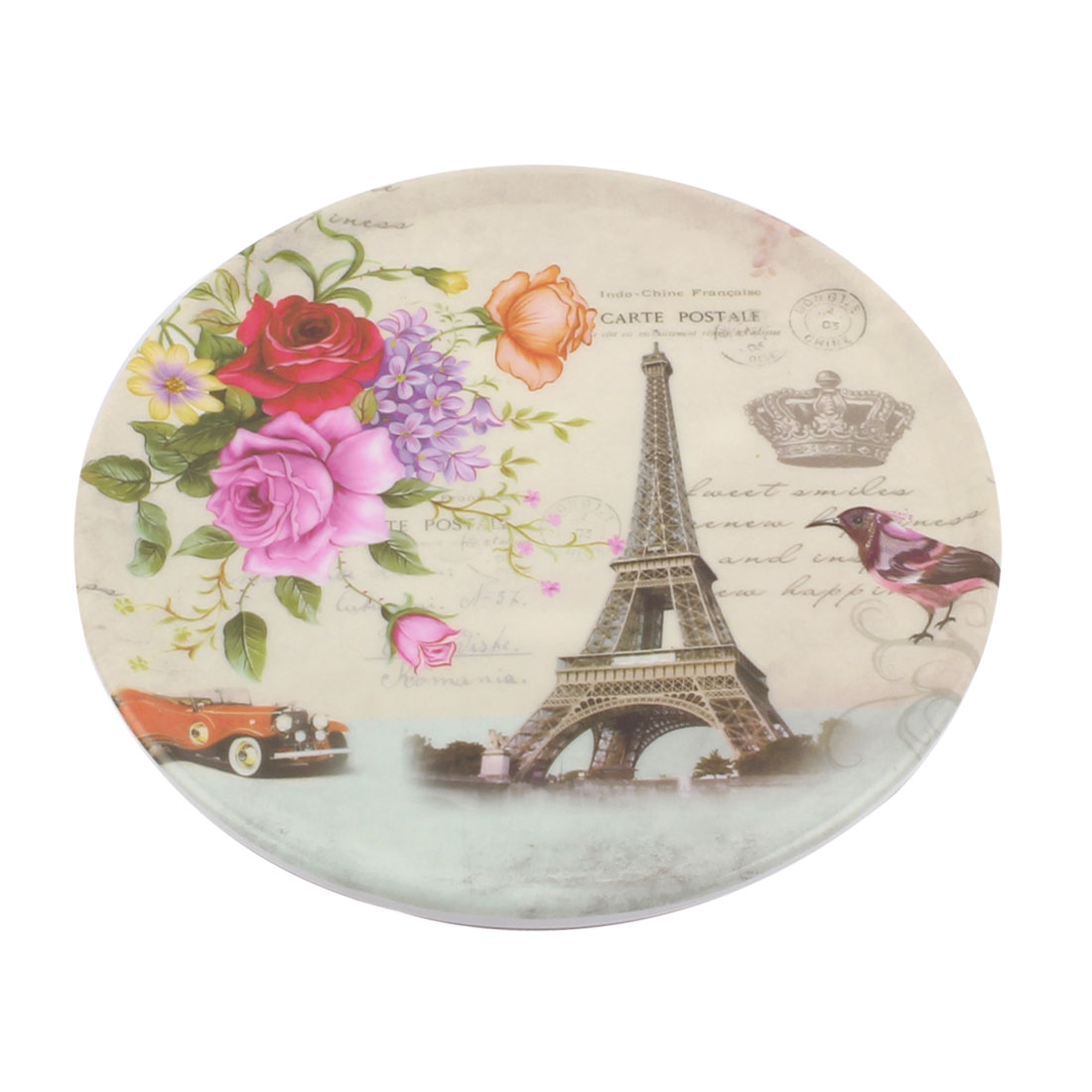 Tableware Melamine Eiffel Tower Pattern Heat Insulation Placemat Dish Plate Mat 16.5 Dia