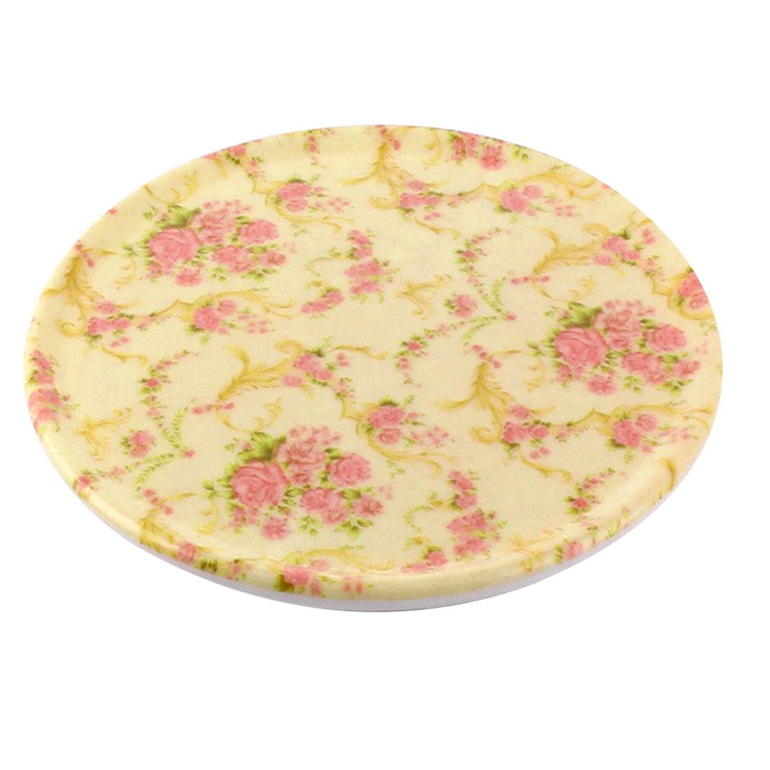 Tableware Melamine Chinese Rose Pattern Heat Insulation Placemat Dish Plate Mat 16.5 Dia