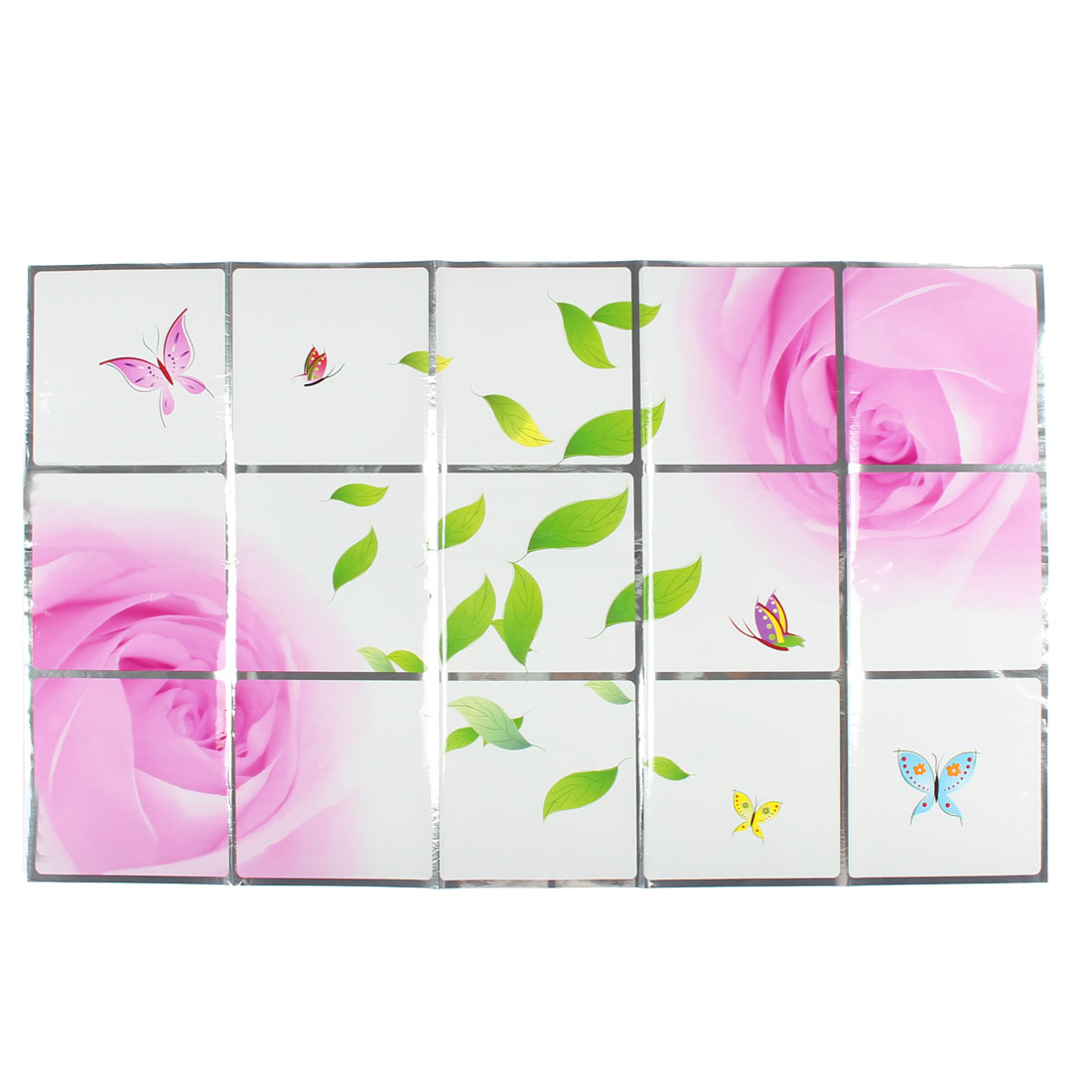 Kitchen Rose Pattern Removable Self-adhesive Oilproof Wall Window Sticker 75 x 45cm