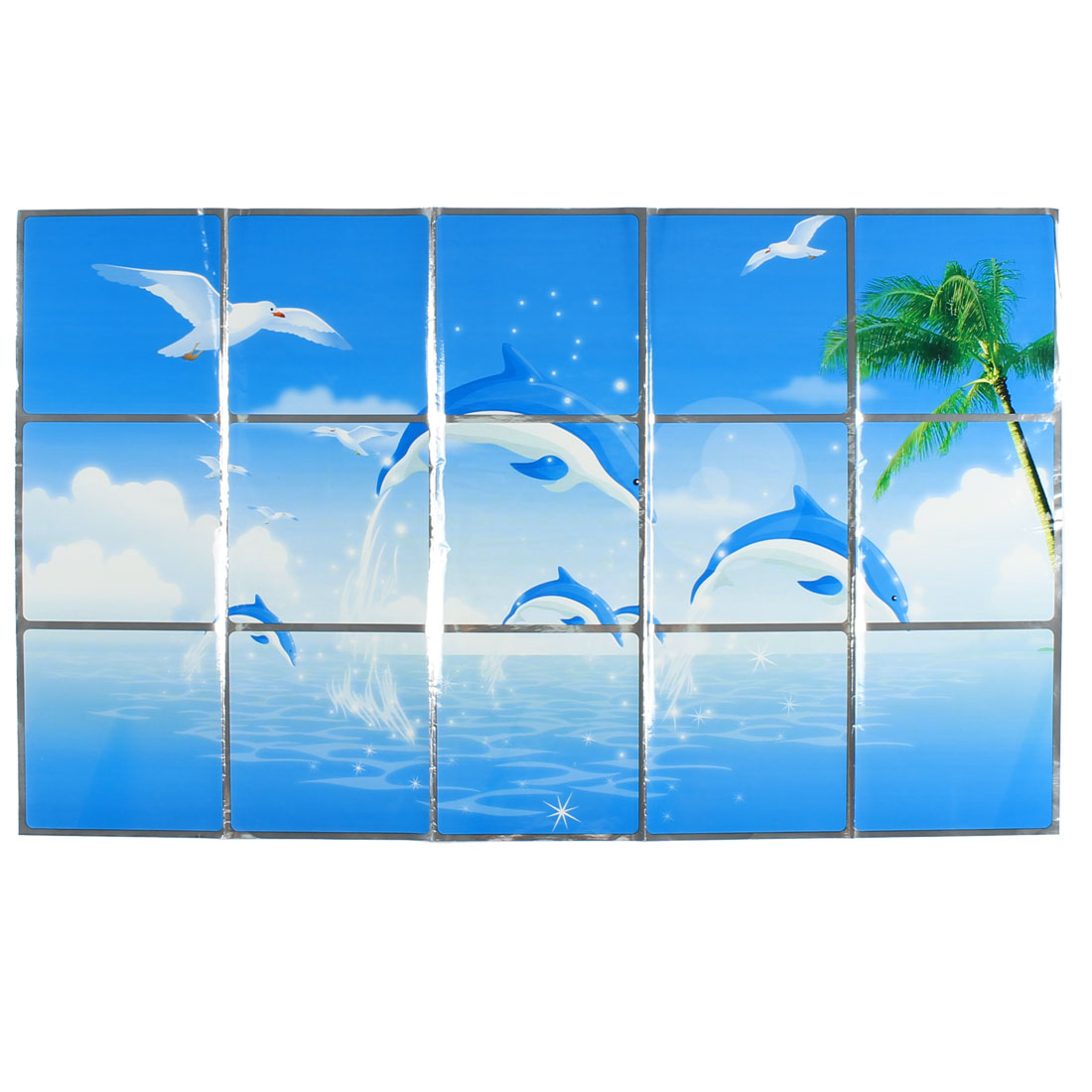 Kitchen Dolphins Pattern Removable Self-adhesive Oilproof Wall Window Sticker 75 x 45cm