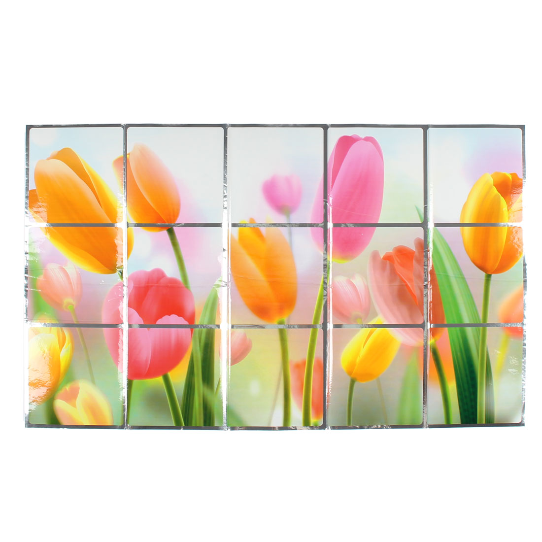 Kitchen Tulip Pattern Removable Heat Resistant Oilproof Wall Window Sticker 75 x 45cm