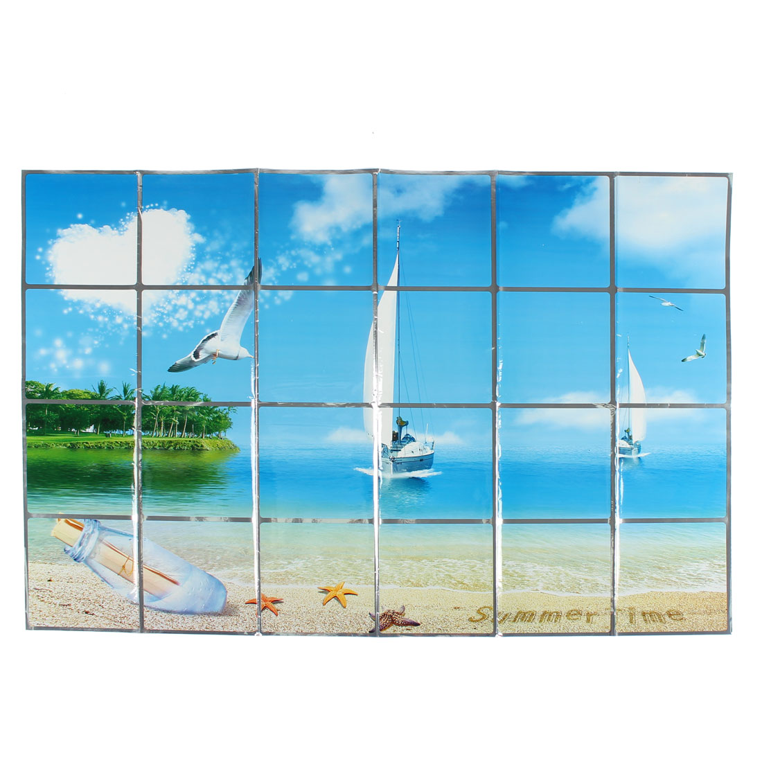 Kitchen Offshore Sailing Pattern Removable Self-adhesive Oilproof Wall Window Sticker 90 x 60cm