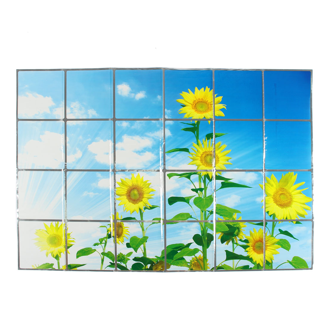 Kitchen Sunflowers Pattern Removable Self-adhesive Oilproof Wall Window Sticker 90 x 60cm