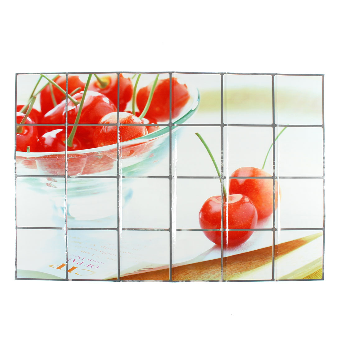 Kitchen Cherries Pattern Removable Self-adhesive Oilproof Wall Window Sticker 90 x 60cm