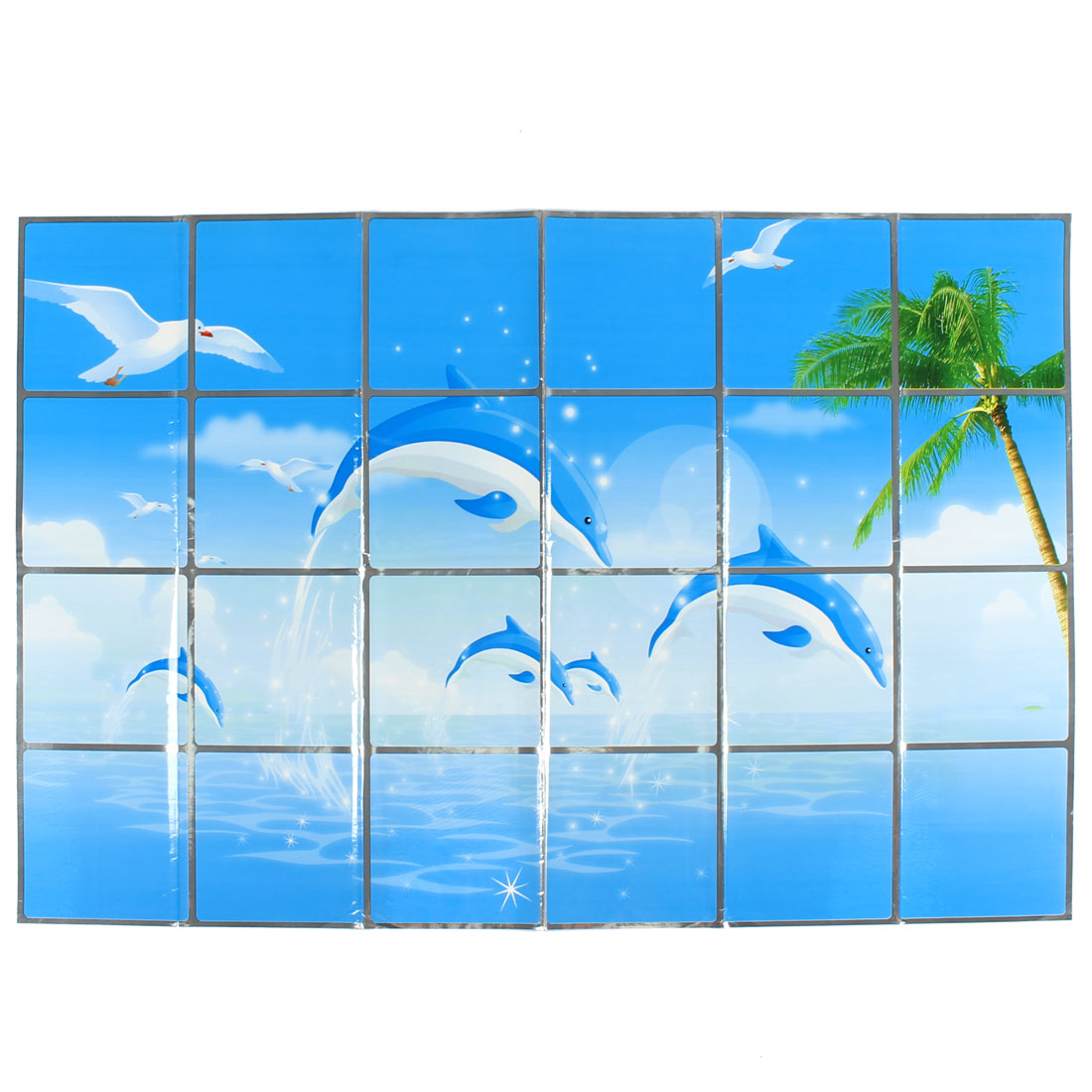 Kitchen Dolphins Pattern Removable Self-adhesive Oilproof Wall Window Sticker 90 x 60cm