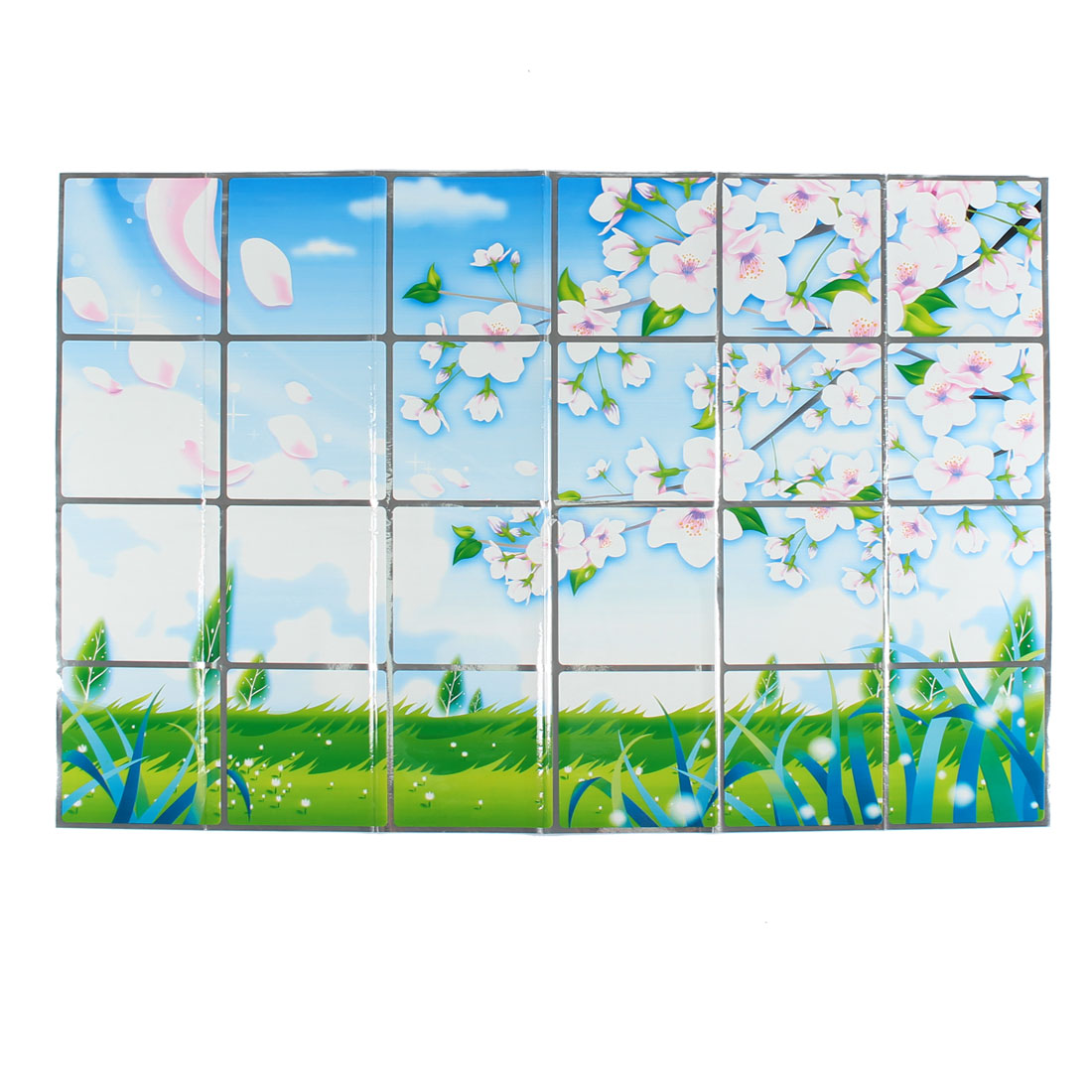 Kitchen Plum Blossom Pattern Removable Self-adhesive Oilproof Wall Window Sticker 90 x 60cm