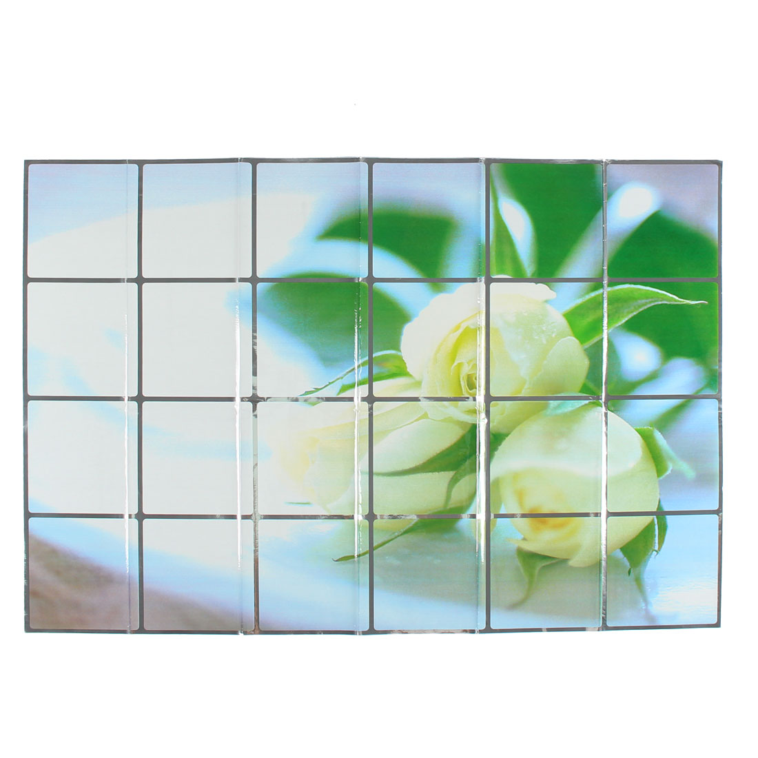 Kitchen Champagne Flowers Pattern Removable Self-adhesive Oilproof Wall Window Sticker 90 x 60cm