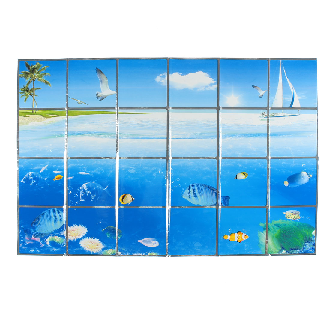 Kitchen Undersea World Pattern Removable Self-adhesive Oilproof Wall Window Sticker 90 x 60cm