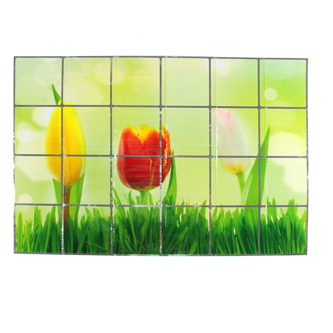 Kitchen Tulip Printed Removable Self-adhesive Oilproof Wall Window Sticker 90 x 60cm